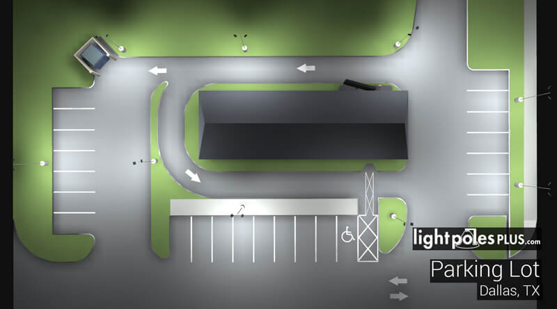 Restaurant Parking Lot Lighting Layout & Lighting Layout Request - LightPolesPlus.com