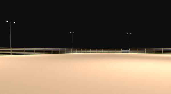 Horse Arena Photometric Layout - Aerial View - Alternate 45 deg.