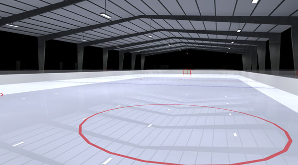 Ice Rink Photometric Layout - 3D Arial View