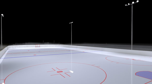 Ice Rink Photometric Layout - Aerial View - Heatmap
