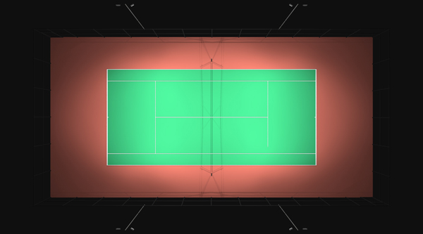 Tennis Court Photometric Layout - Aerial View - Top Down